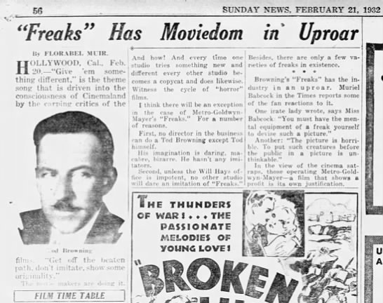 Original newspaper 1932 about Freaks